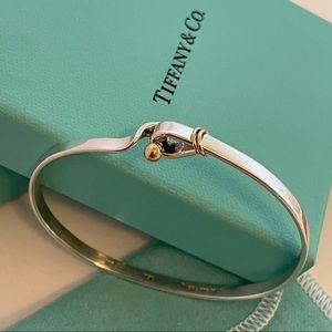 Tiffany & Co. 18k Gold & Sterling Silver Knot Cuff Bracelet W/ Box & Pouch